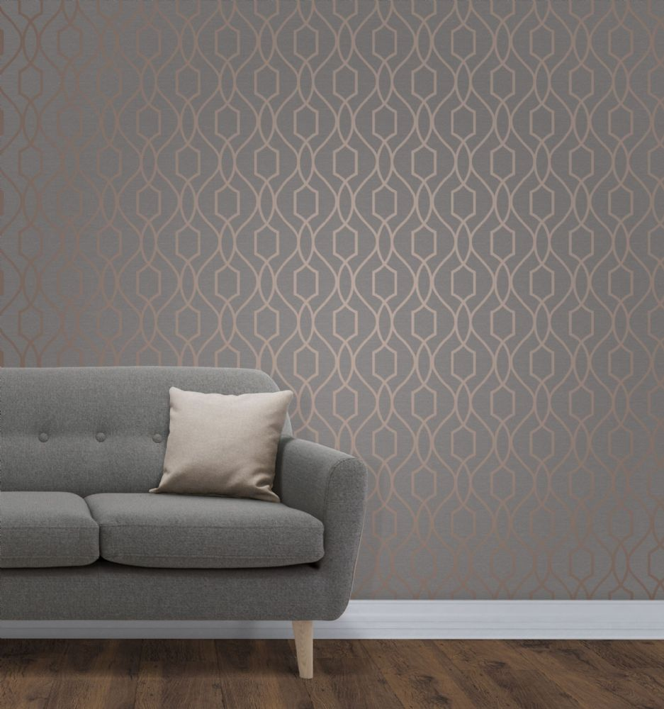 Fine Decor Apex Geo Trellis Copper FD41998 Wallpaper